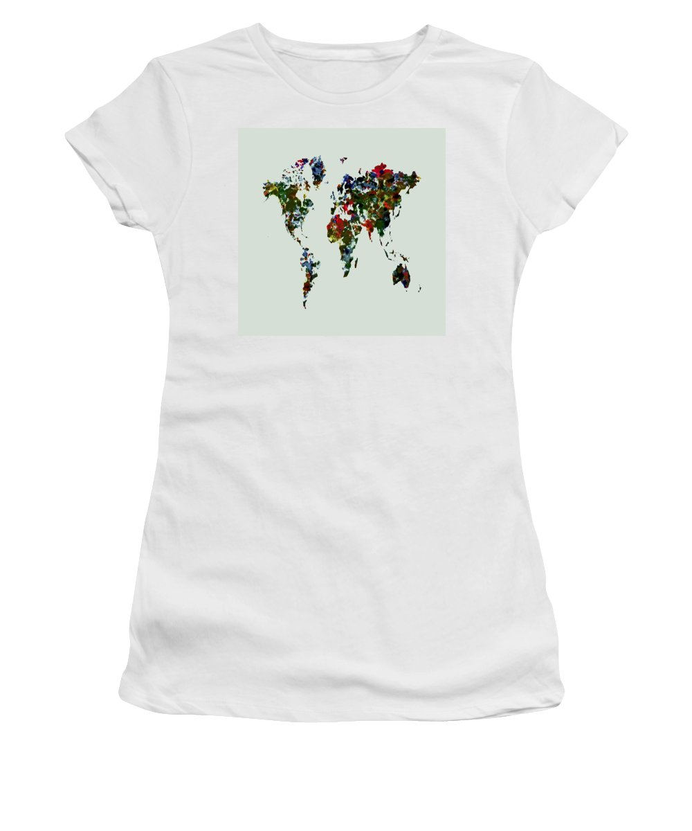 World Map Women's T-Shirt featuring the painting World Map 12b by Brian Reaves