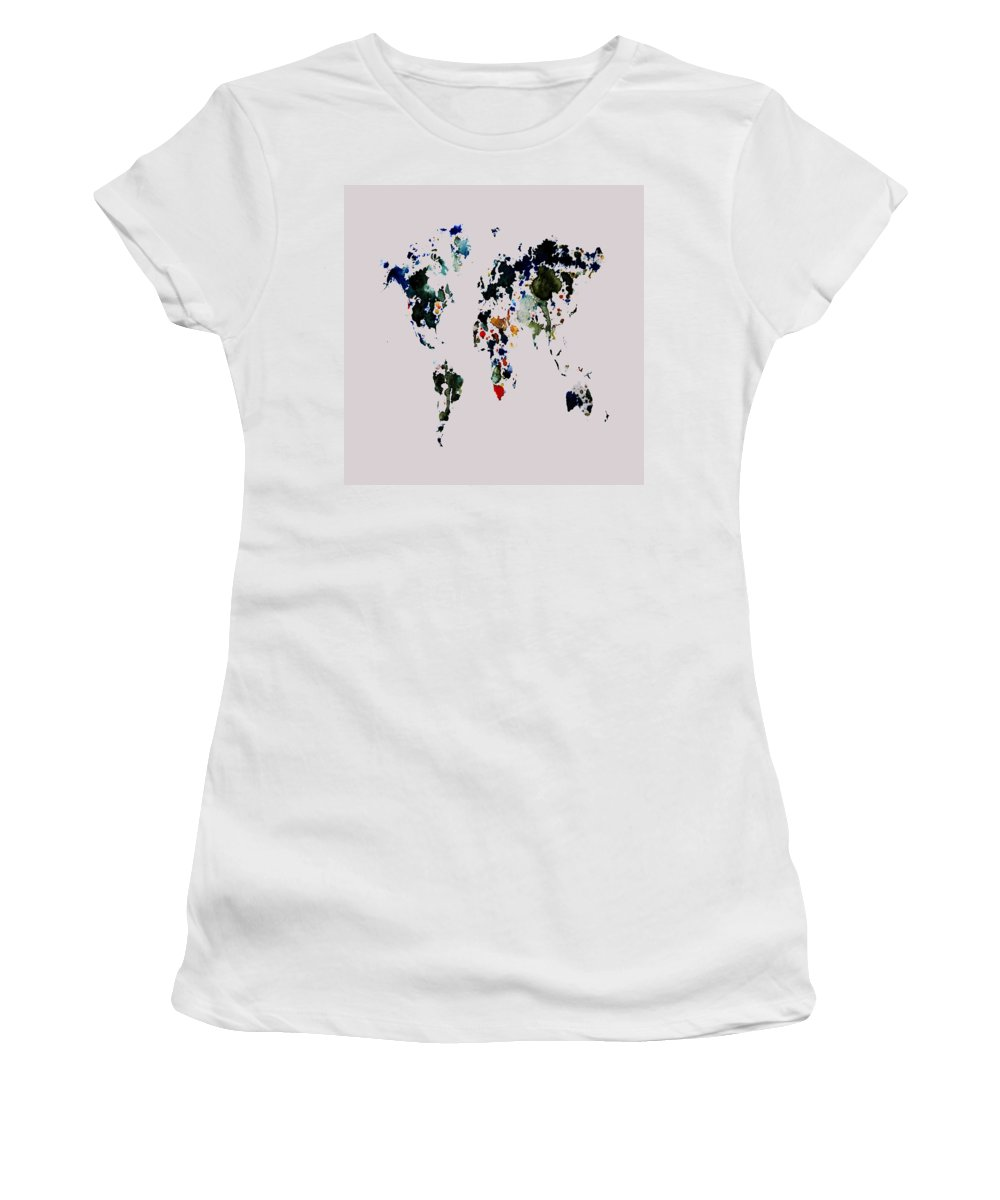 World Map Women's T-Shirt featuring the painting World Map 14b by Brian Reaves