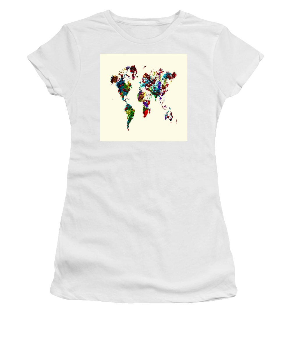 World Map Women's T-Shirt featuring the painting World Map 9b by Brian Reaves