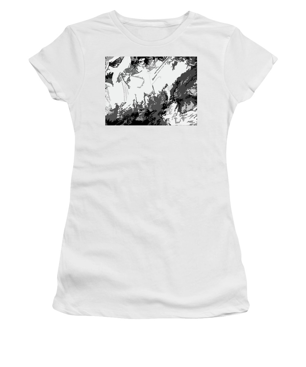 Abstract Women's T-Shirt featuring the digital art Writing In Snow by Lenore Senior