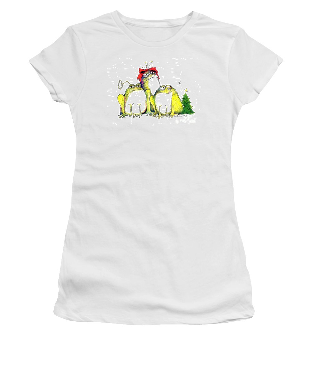 Christmas Card Women's T-Shirt featuring the greeting card Xmas Bows by Pat Saunders-White