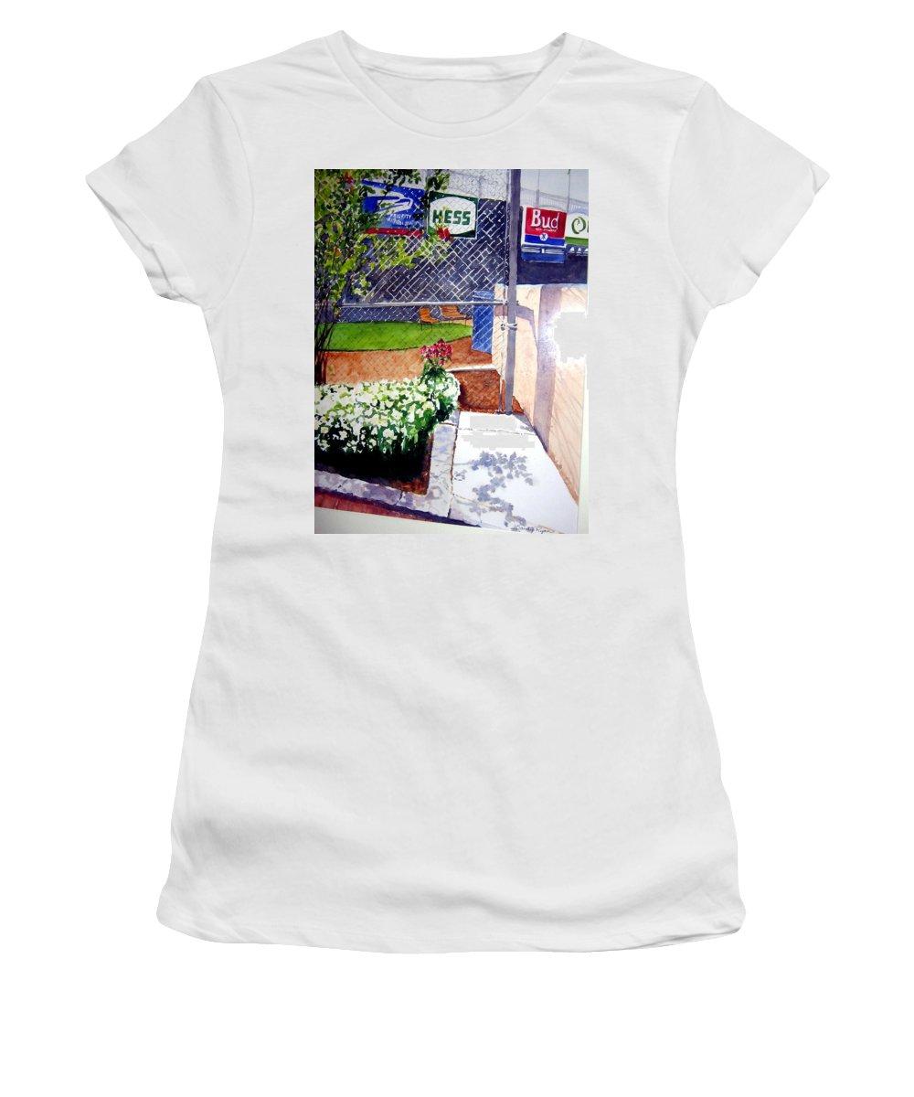 Ballpark Women's T-Shirt featuring the painting Yankee Stadium by Sandy Ryan