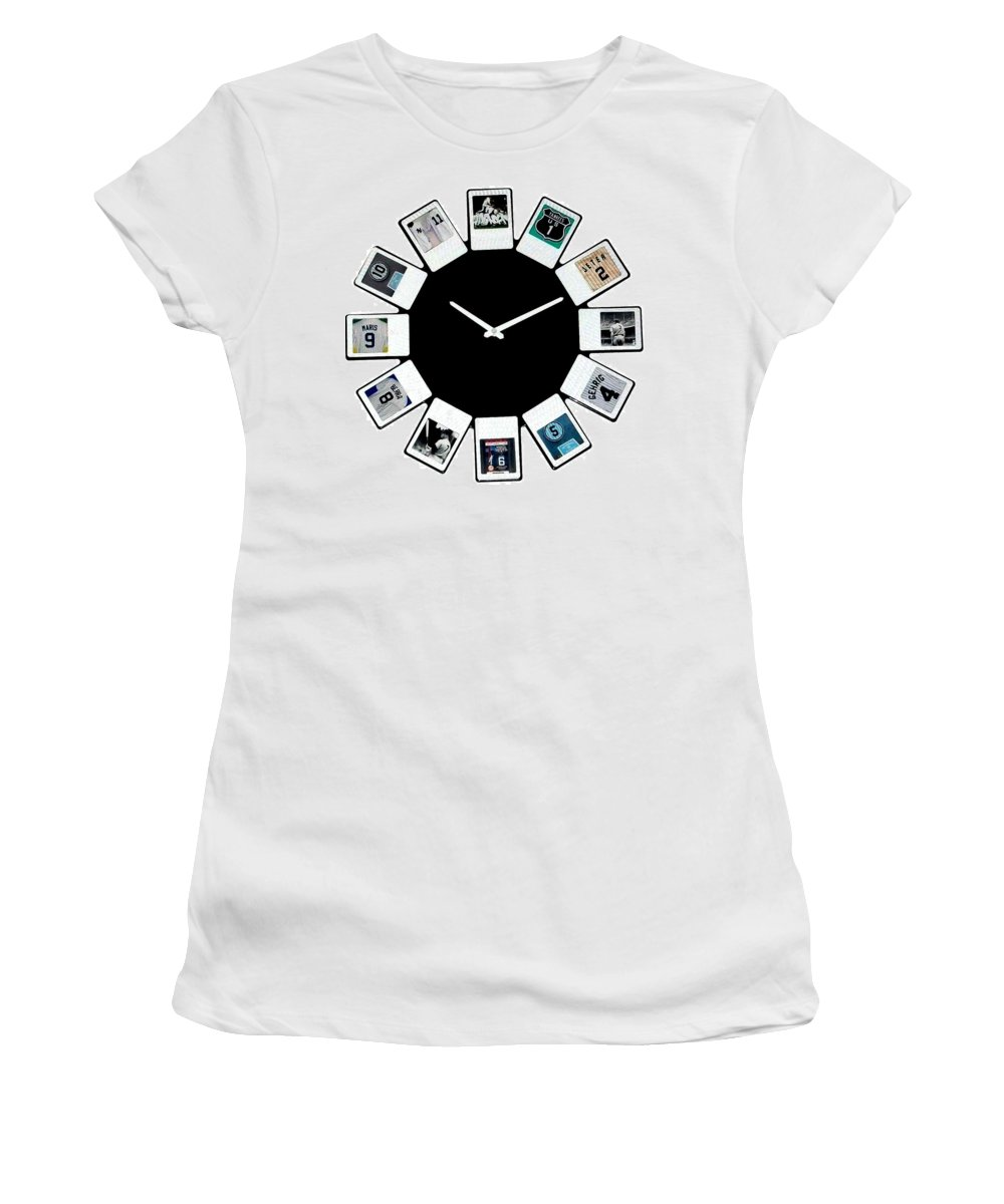 New York Women's T-Shirt featuring the mixed media yankees Clock by Paul Van Scott