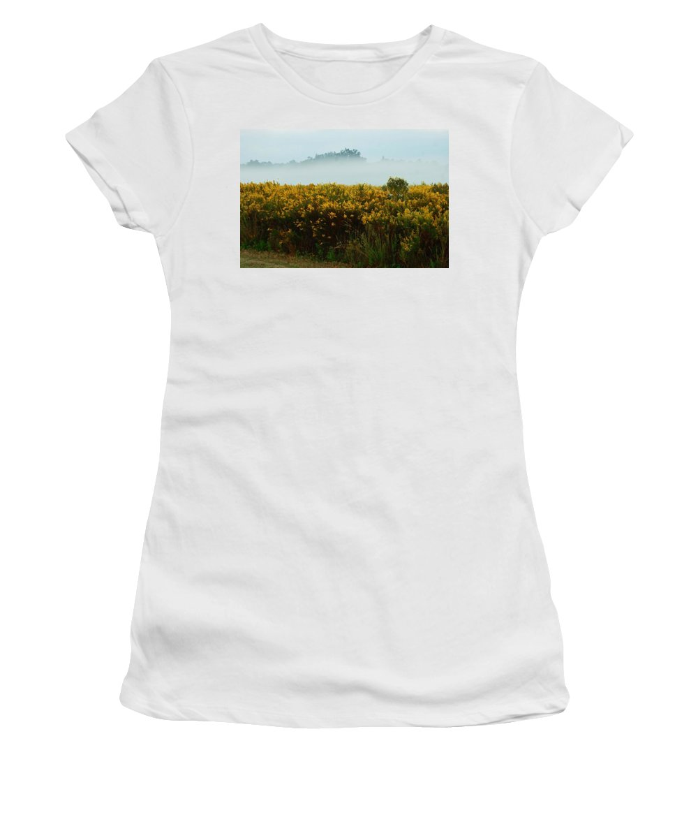 Pelican Women's T-Shirt (Athletic Fit) featuring the digital art Yellow Field And The Fog by Michael Thomas