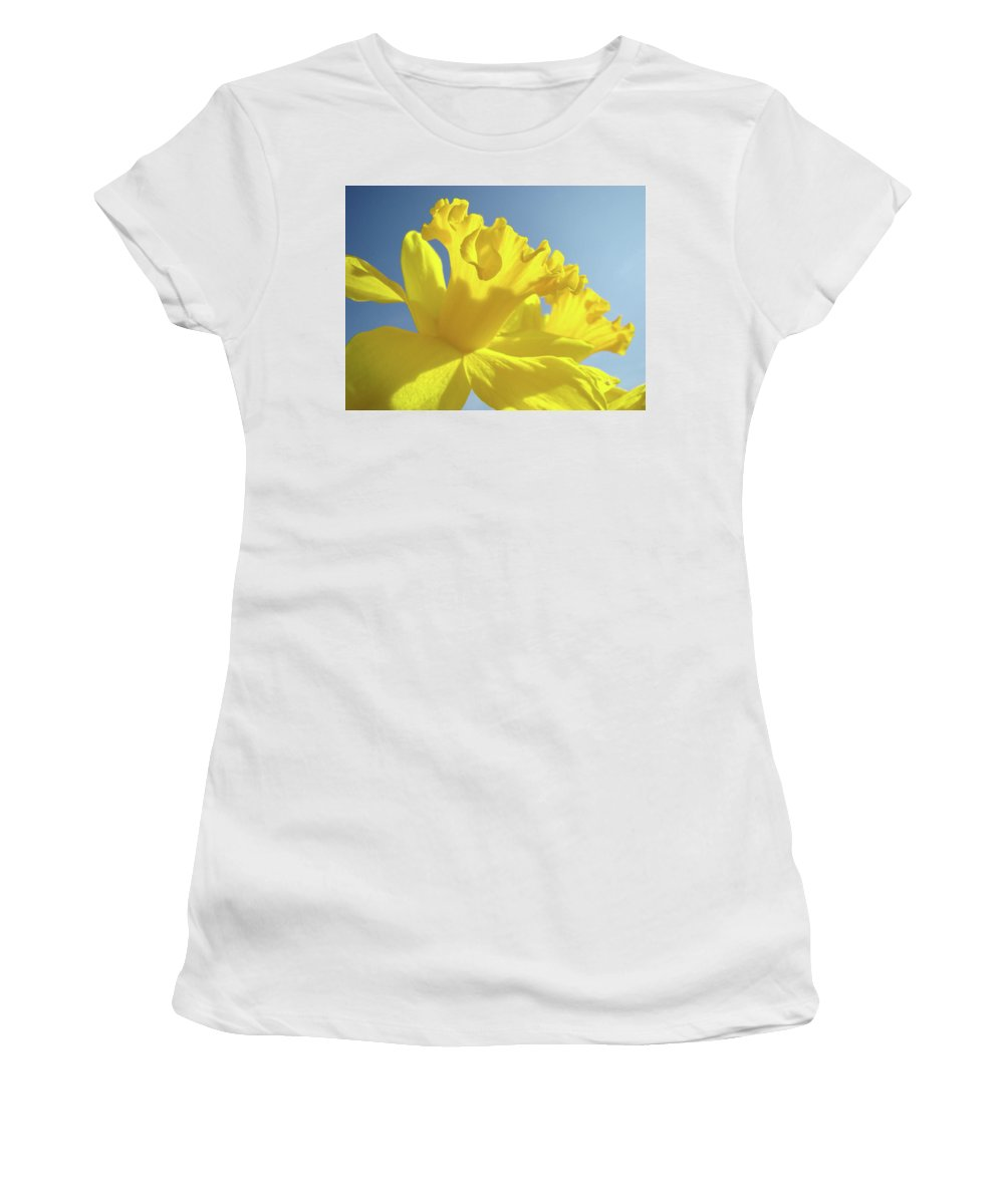 Flower Women's T-Shirt (Athletic Fit) featuring the photograph Yellow Flower Floral Daffodils Art Prints Spring Blue Sky Baslee Troutman by Baslee Troutman