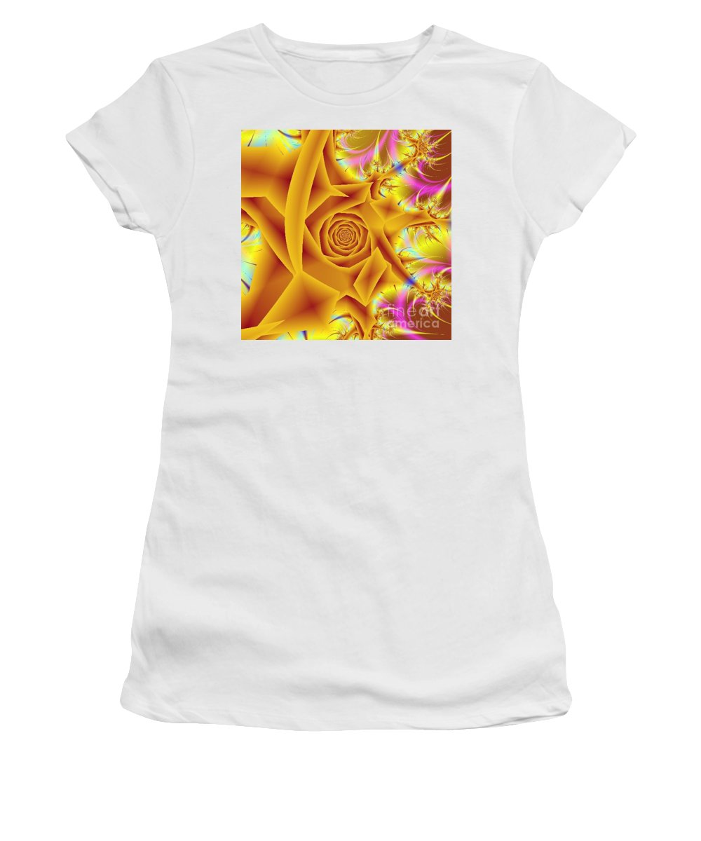Digital Art Women's T-Shirt (Athletic Fit) featuring the digital art Yellow Rose by Dragica Micki Fortuna