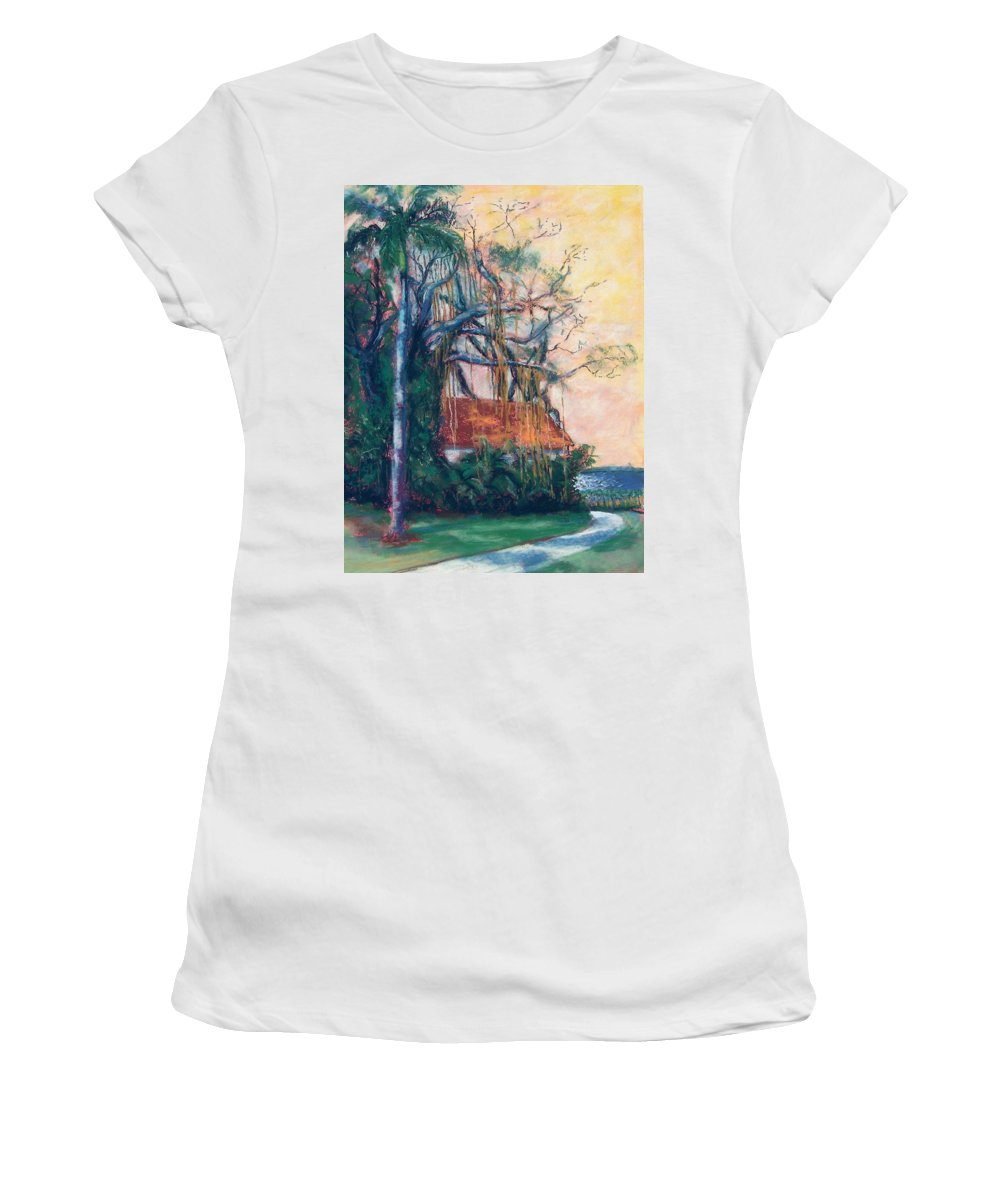 Edison Women's T-Shirt (Athletic Fit) featuring the painting Yellow Sky At Edison Winter Estate by Laurie Paci