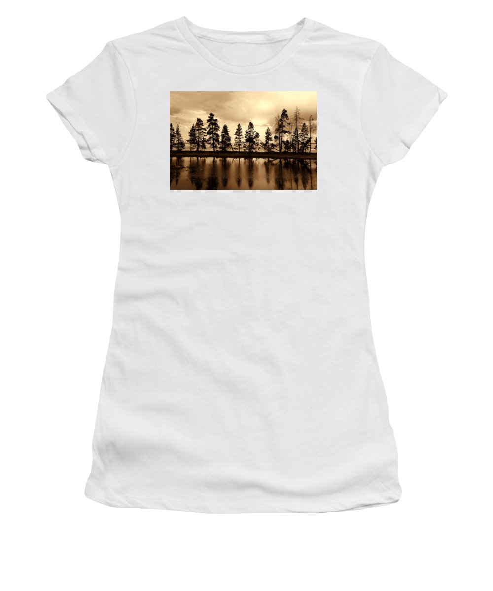 Photography Women's T-Shirt (Athletic Fit) featuring the photograph Yellowstone Lake by Susanne Van Hulst