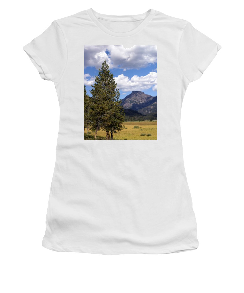 Yellowstone National Park Women's T-Shirt (Athletic Fit) featuring the photograph Yellowstone Landscape by Marty Koch