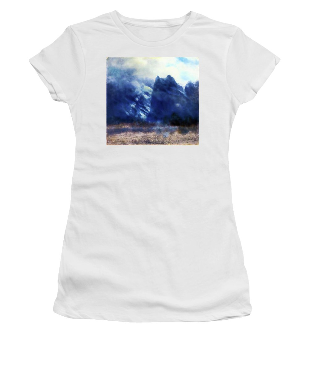 Mountains Women's T-Shirt (Athletic Fit) featuring the painting Yosemite Valley Twin Peaks by Media Impasto Paper