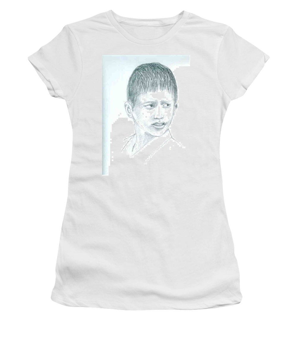 Women's T-Shirt (Athletic Fit) featuring the drawing Young Boy by Asha Sudhaker Shenoy