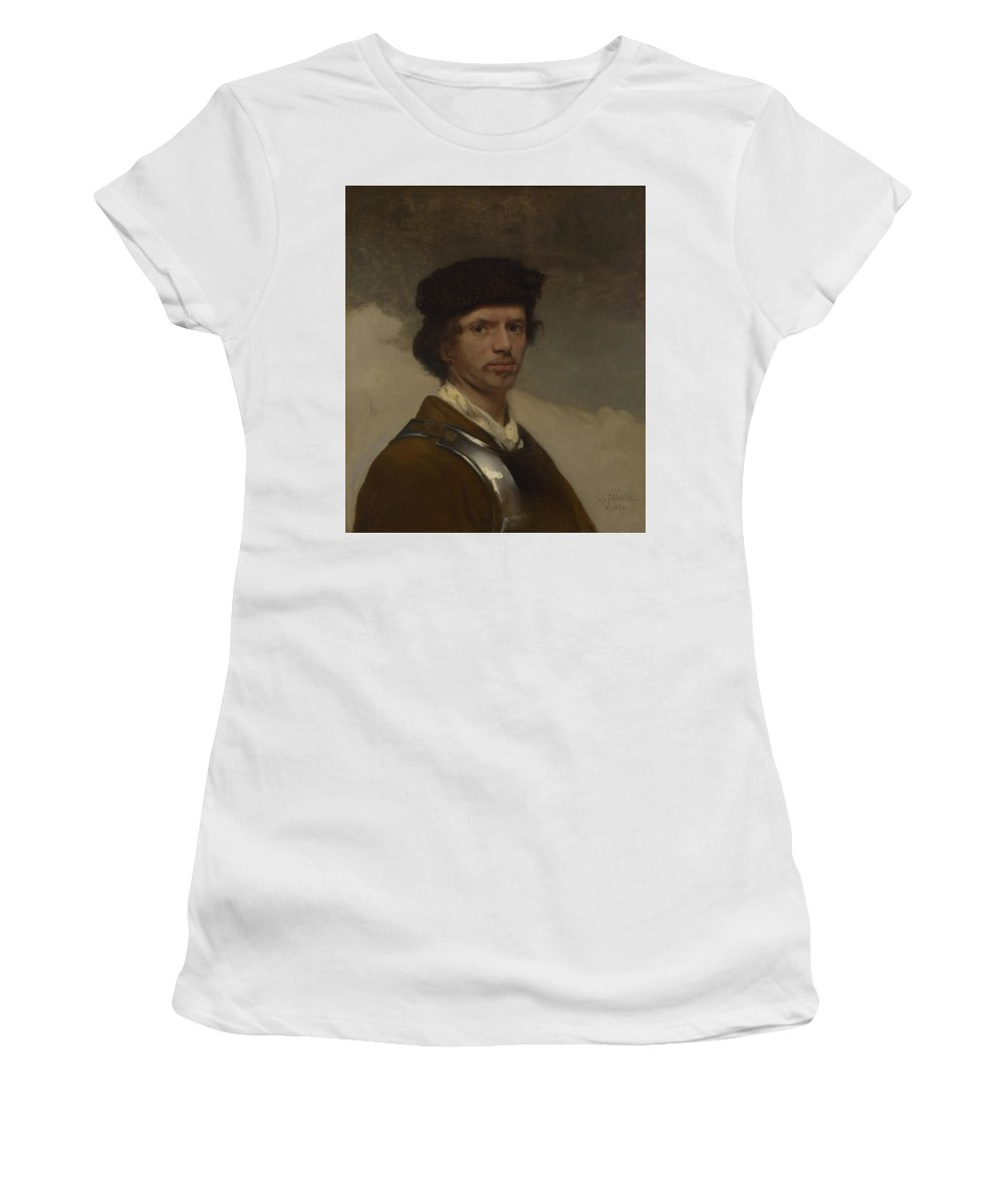 Carel Women's T-Shirt (Athletic Fit) featuring the digital art Young Man In A Fur Cap by PixBreak Art