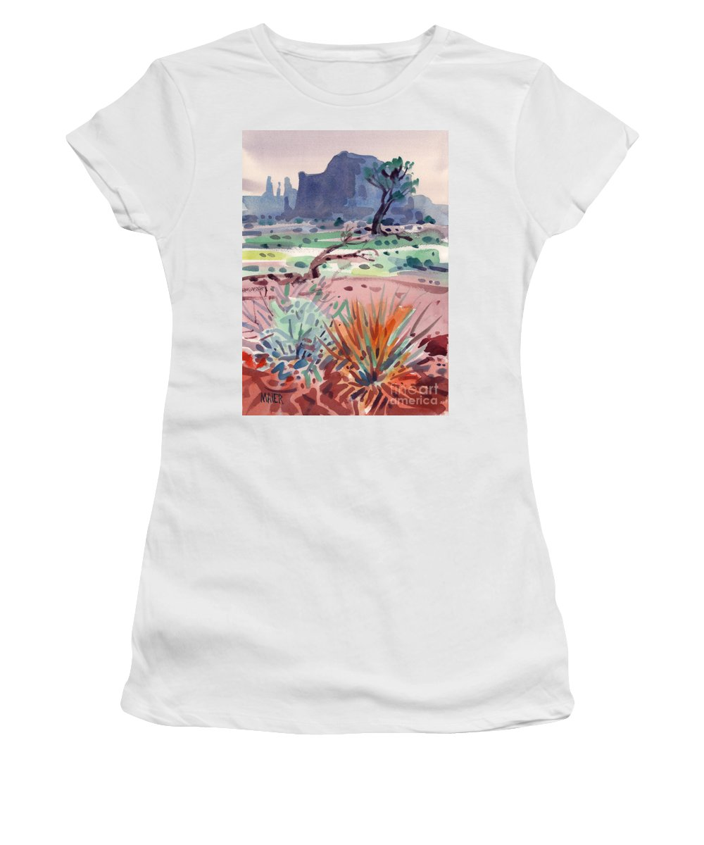 Monument Valley Women's T-Shirt (Athletic Fit) featuring the painting Yucca And Buttes by Donald Maier