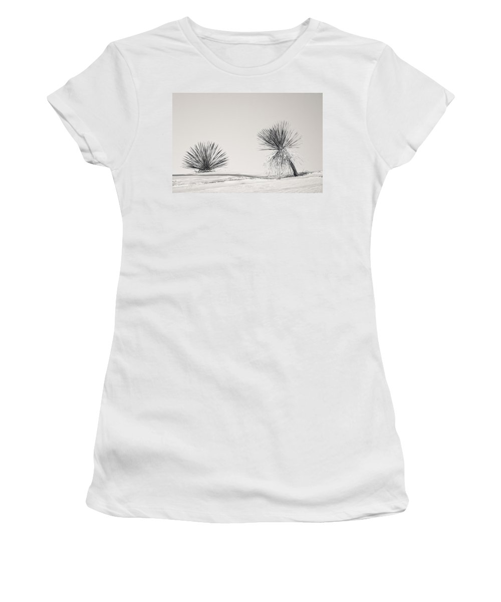Yucca Women's T-Shirt featuring the photograph yucca in White sands by Ralf Kaiser