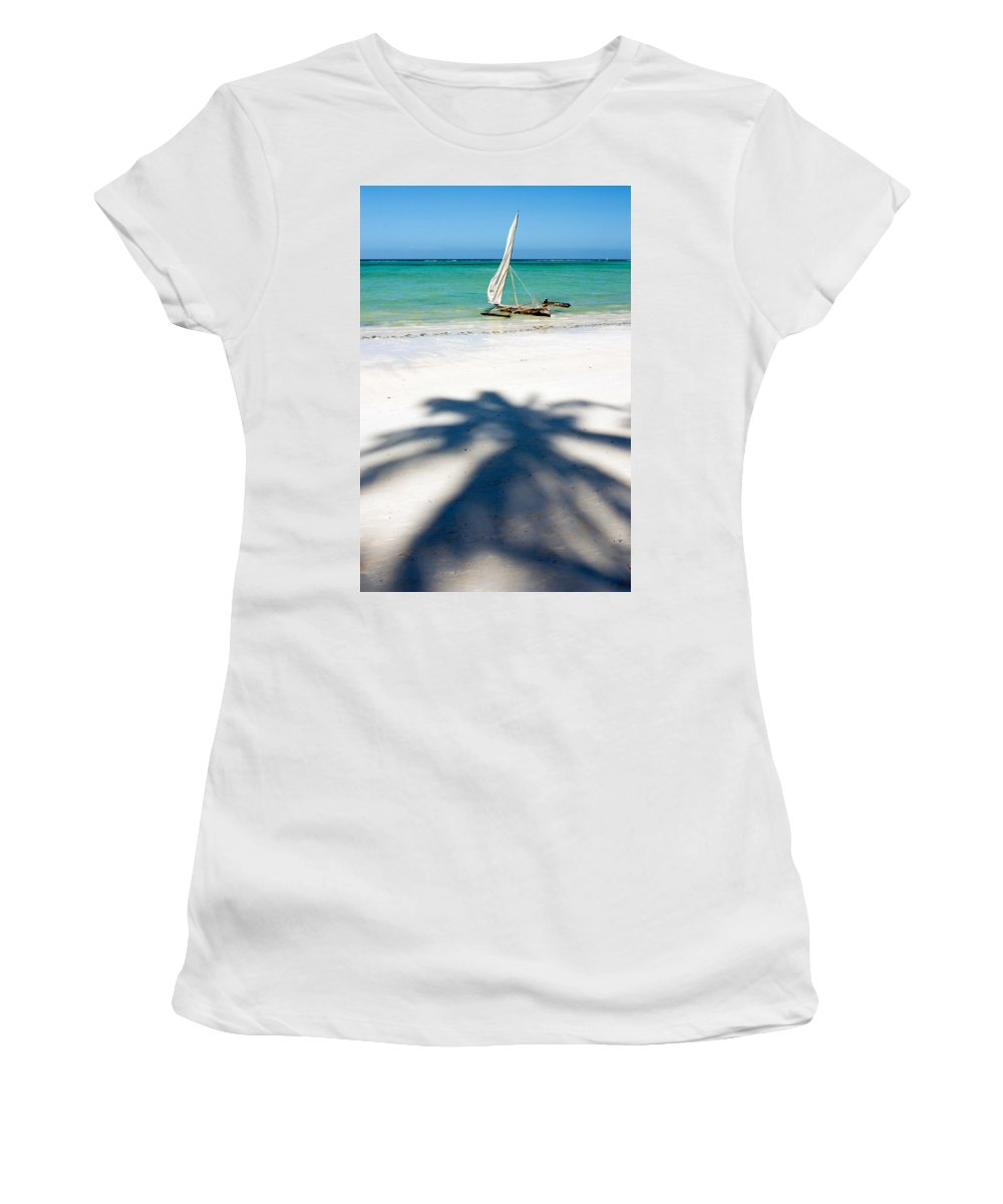 3scape Photos Women's T-Shirt (Athletic Fit) featuring the photograph Zanzibar Beach by Adam Romanowicz