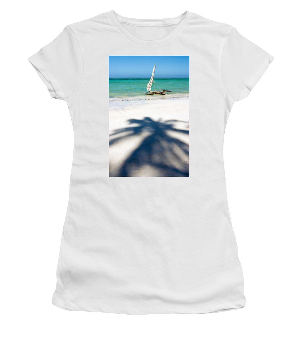 3scape Women's T-Shirt (Athletic Fit) featuring the photograph Zanzibar Beach by Adam Romanowicz