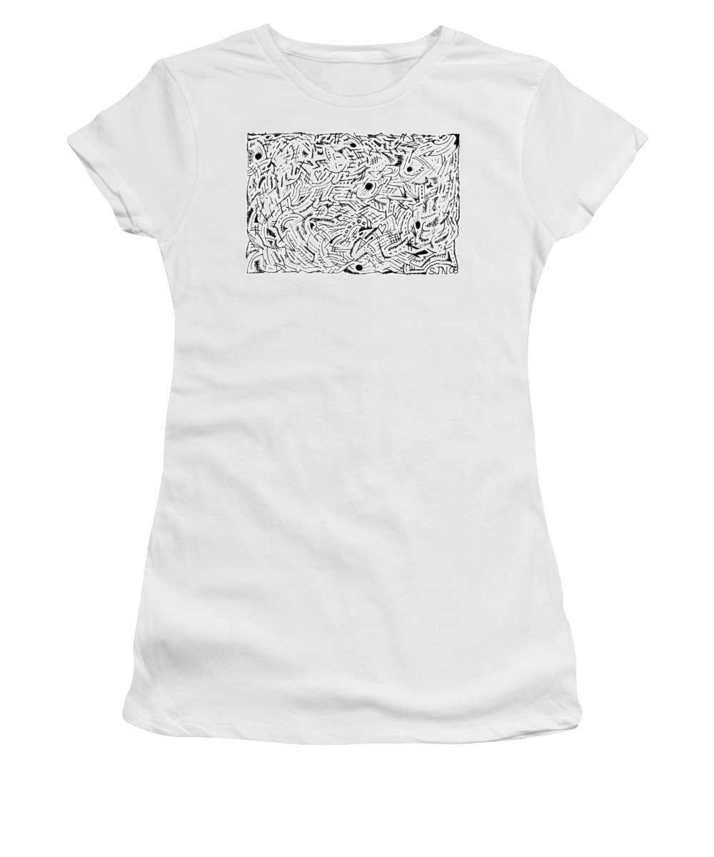 Mazes Women's T-Shirt (Athletic Fit) featuring the drawing Zephyr by Steven Natanson