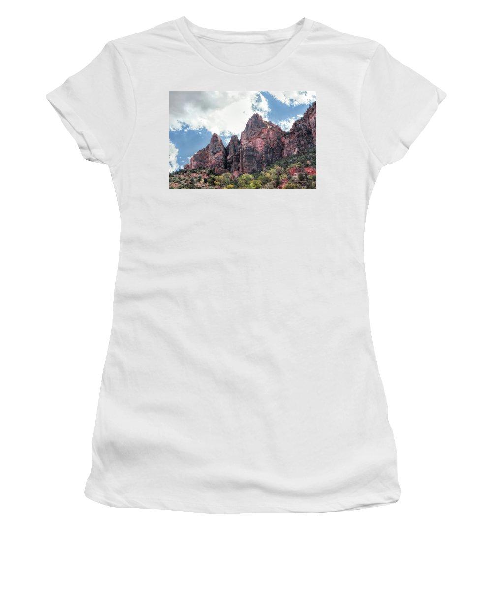 Landscape Women's T-Shirt featuring the photograph Zion Canyon Terrain by John M Bailey