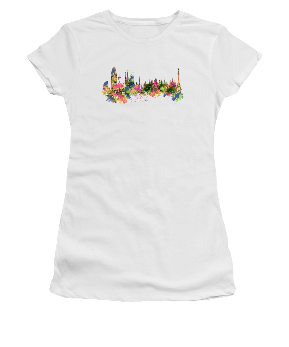 Barcelona Women's T-Shirt featuring the painting Barcelona Watercolor Skyline by Marian Voicu