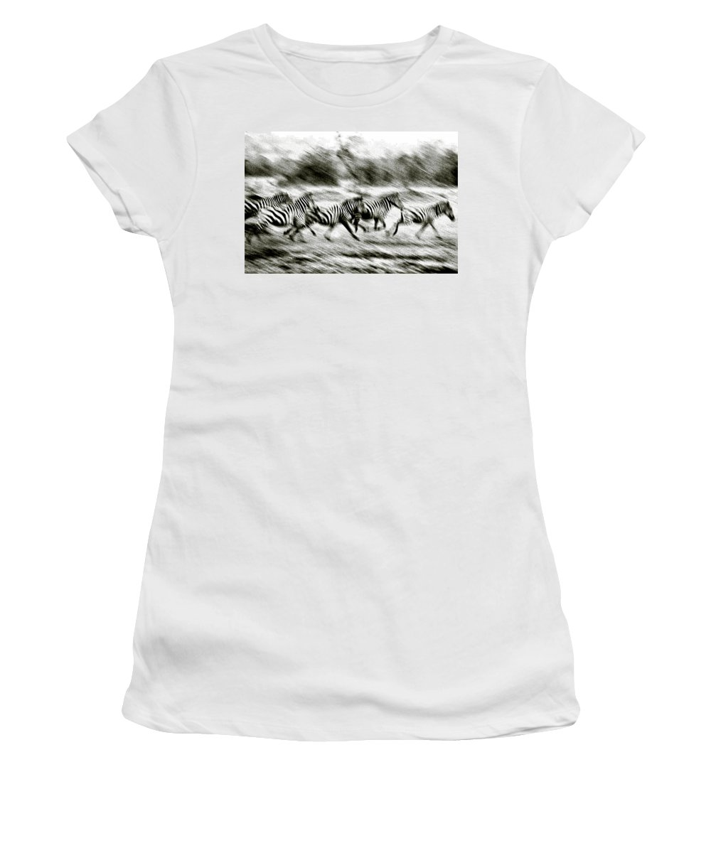 Photography Women's T-Shirt featuring the photograph Stampeding Zebra by Colby Chester