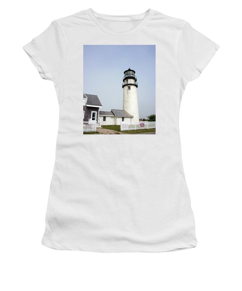 Highland Light Women's T-Shirt featuring the photograph Highland Light - Cape Cod National Seashore 4 by Brendan Reals