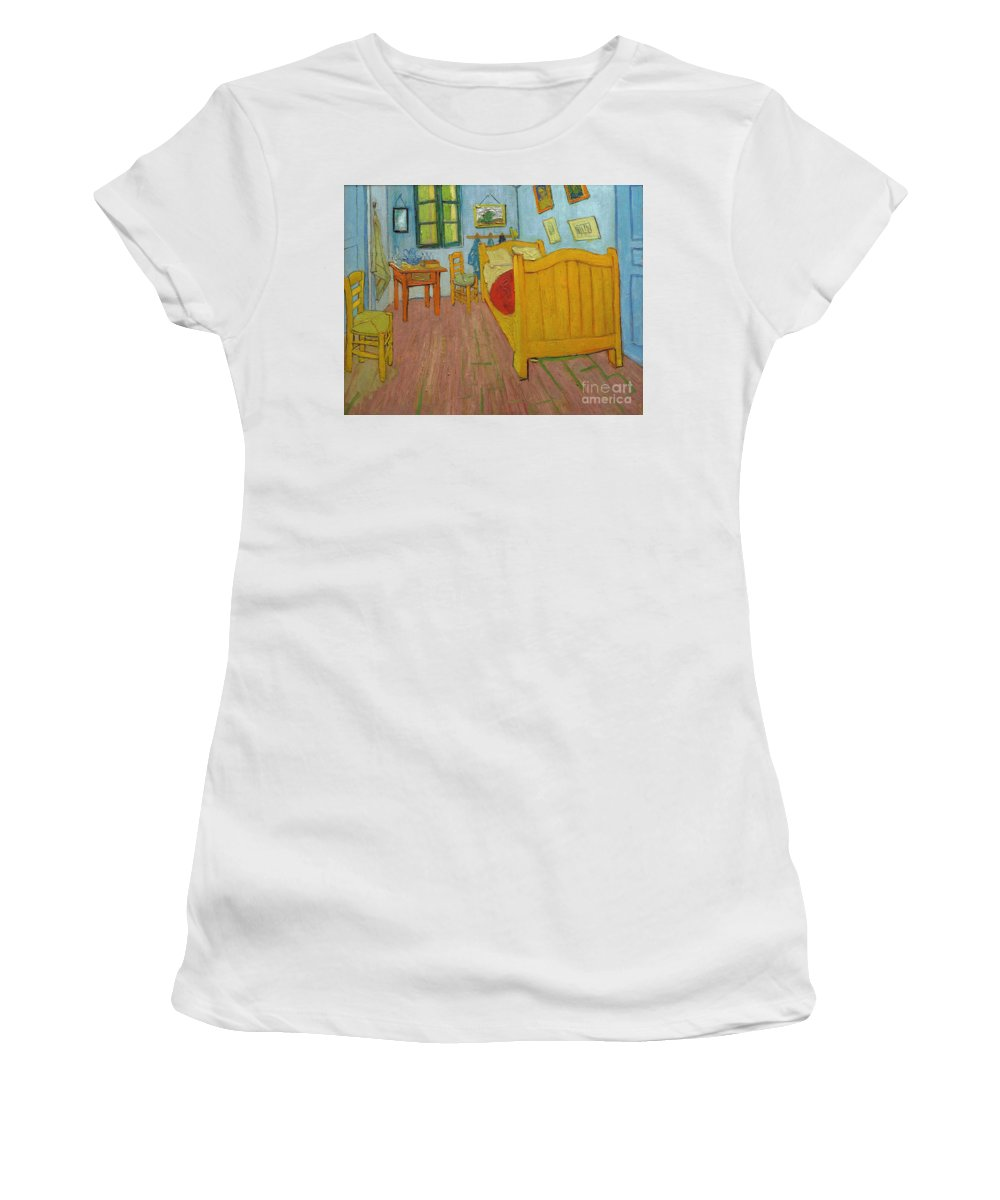 19th Century Women's T-Shirt featuring the painting Bedroom In Arles by Vincent van Gogh