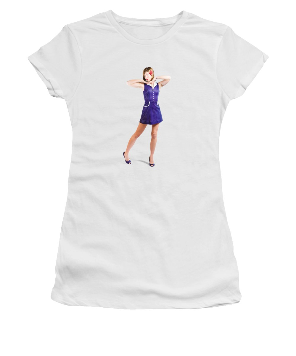 Posed Women's T-Shirt featuring the photograph 50s Pin-up Girl In Retro Purple Polka Dot Dress by Jorgo Photography - Wall Art Gallery