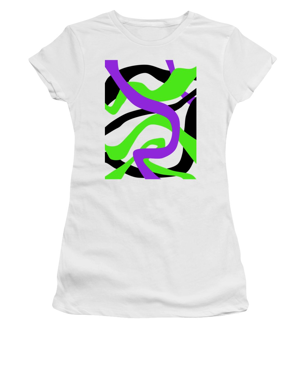 Black Women's T-Shirt featuring the drawing Abstract Purpur Green And Black by Patricia Piotrak