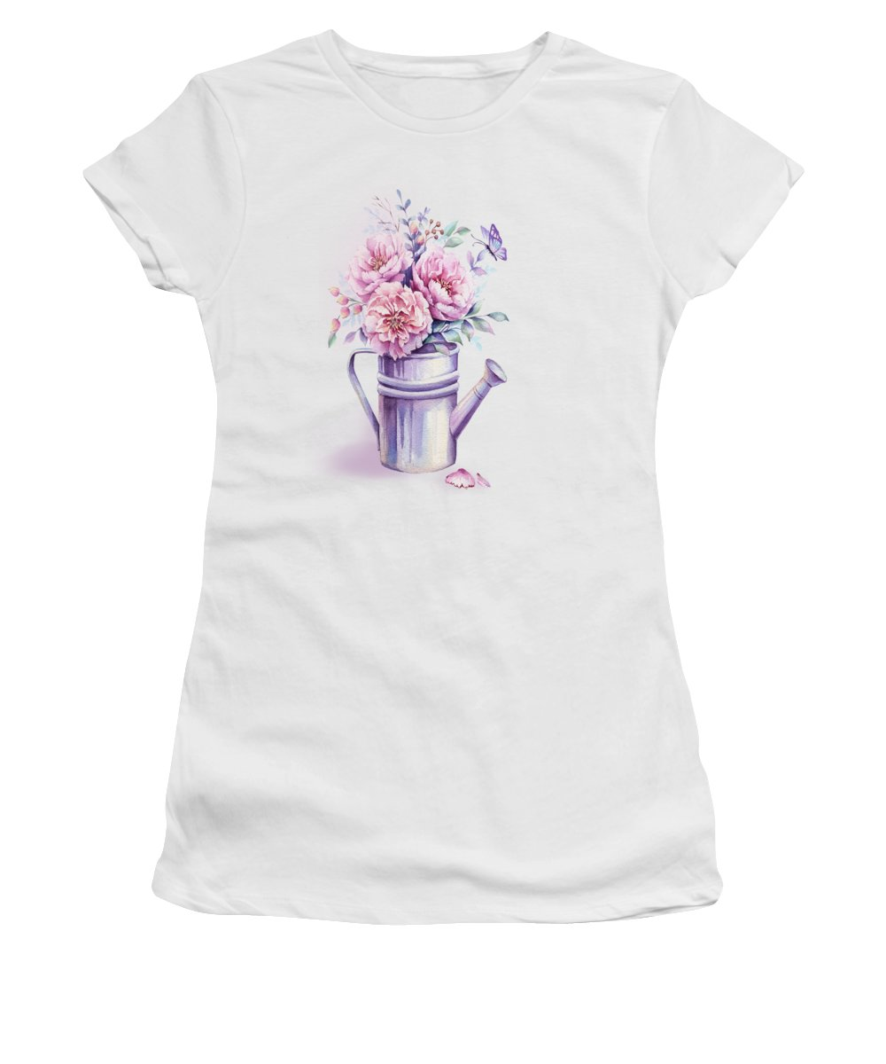 Watercolour Peony Women's T-Shirt featuring the painting Pink Peonies Blooming Watercolour by Georgeta Blanaru