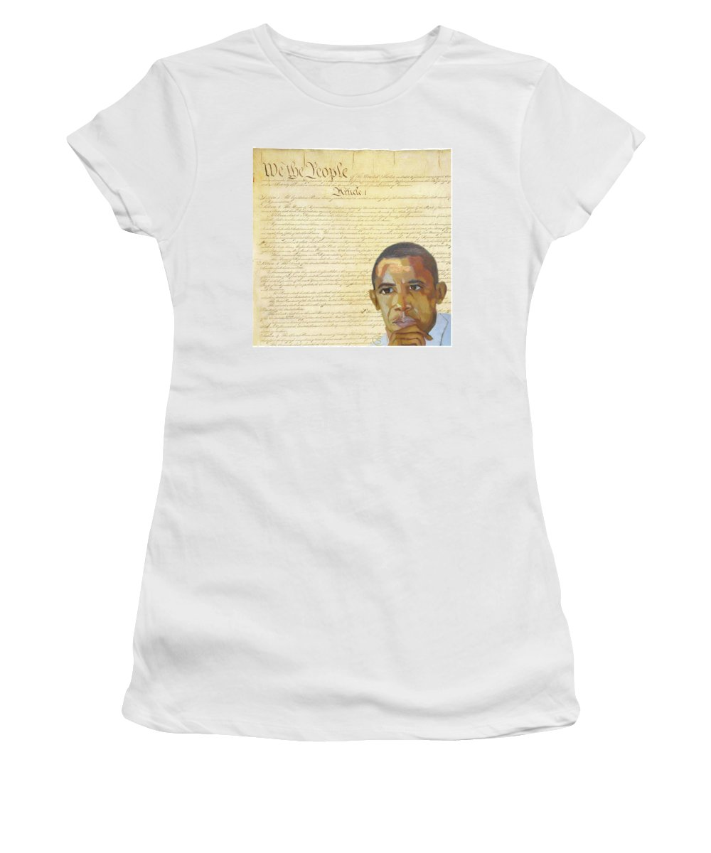 Barack Hussein Obama Women's T-Shirt featuring the digital art Barack Obama - Constitution by Suzanne Cerny