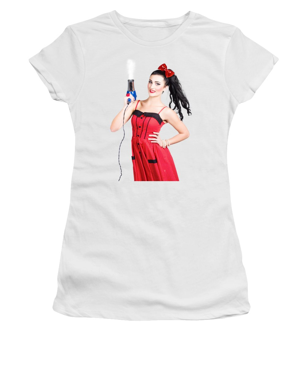 Salon Women's T-Shirt featuring the photograph Beauty Style Portrait Of A Elegant Hairdryer Woman by Jorgo Photography - Wall Art Gallery
