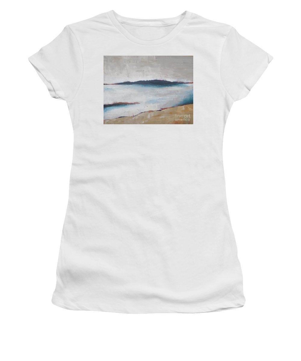 Abstract Women's T-Shirt featuring the painting Cool Lake by Vesna Antic