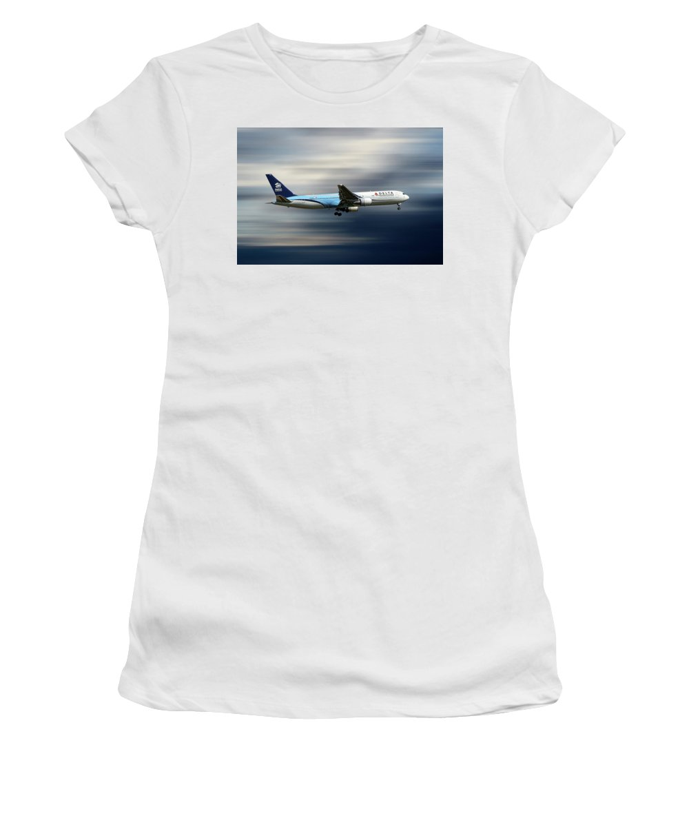 Delta Women's T-Shirt featuring the mixed media Delta Air Lines Boeing 767-332 by Smart Aviation
