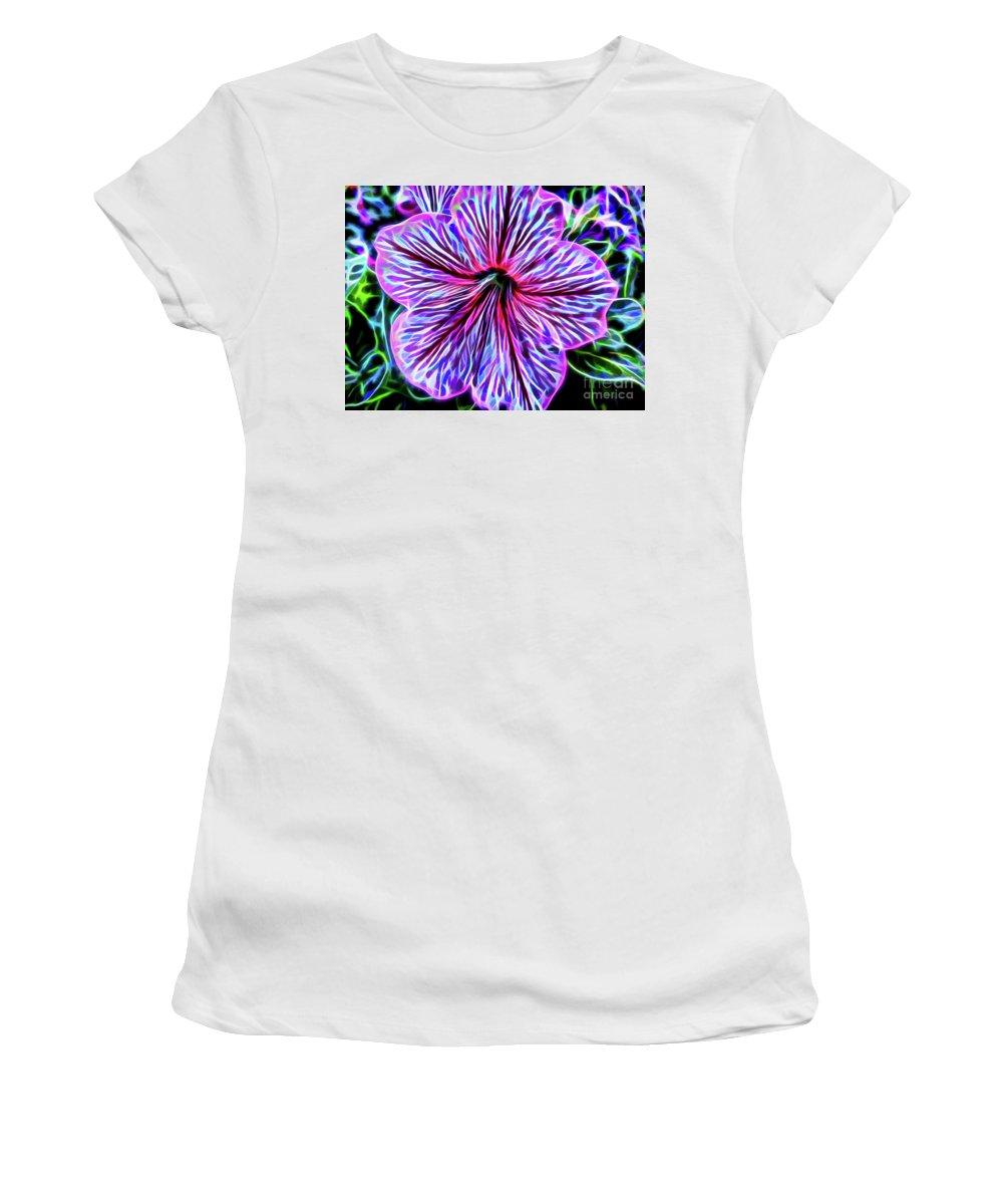 Petunia Women's T-Shirt featuring the photograph Electric Petunia by D Hackett