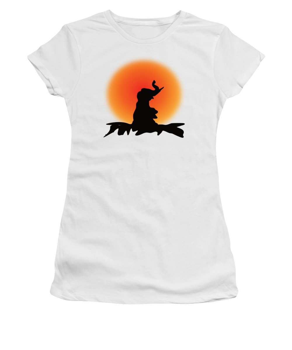 Elephant Women's T-Shirt featuring the digital art Elephant In The Sunset by Patricia Piotrak