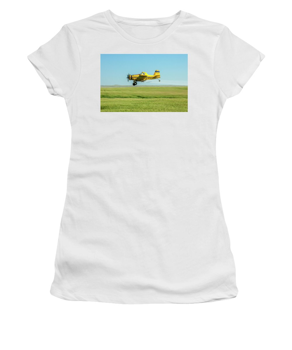 Crop Duster Women's T-Shirt featuring the photograph Fly By by Todd Klassy