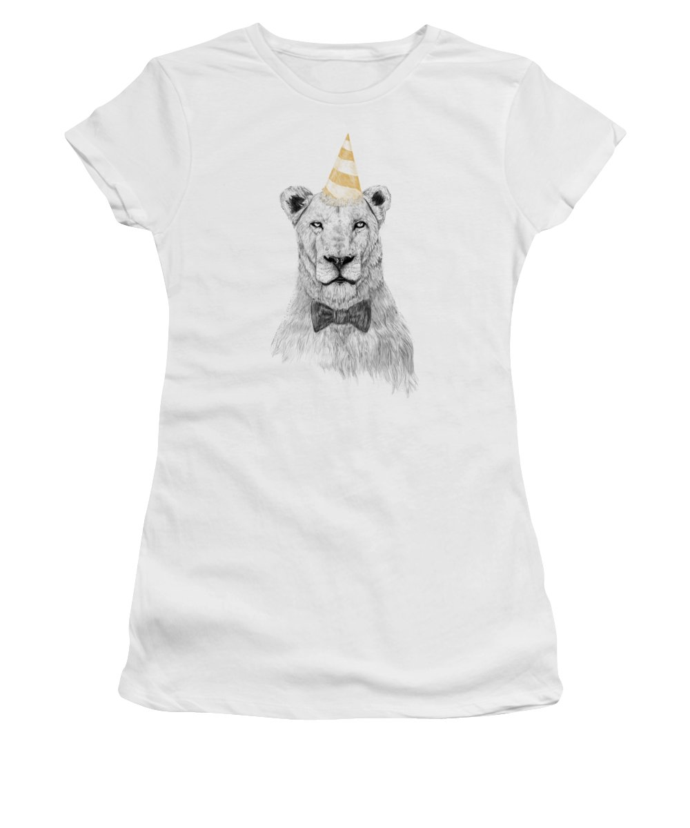 Lion Women's T-Shirt featuring the drawing Get the party started by Balazs Solti