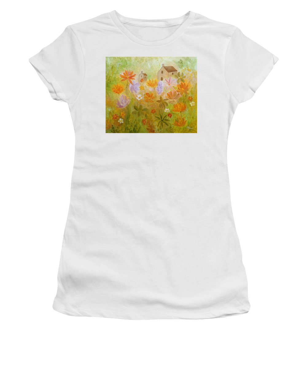 Wild Flowers Women's T-Shirt featuring the painting Hidden Folk by Angeles M Pomata