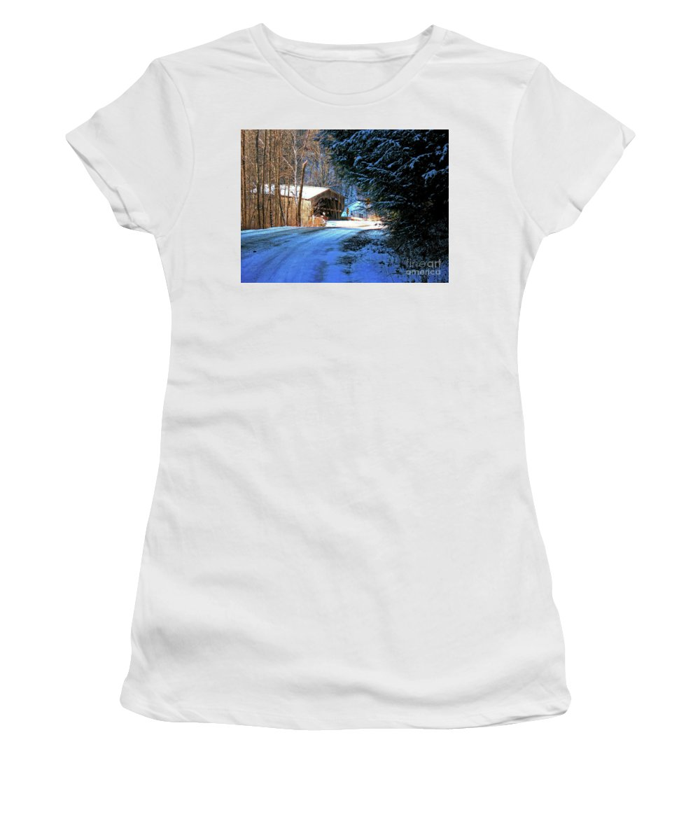 Historic Grist Mill Covered Bridge Women's T-Shirt featuring the photograph Historic Grist Mill Covered Bridge by Patti Whitten