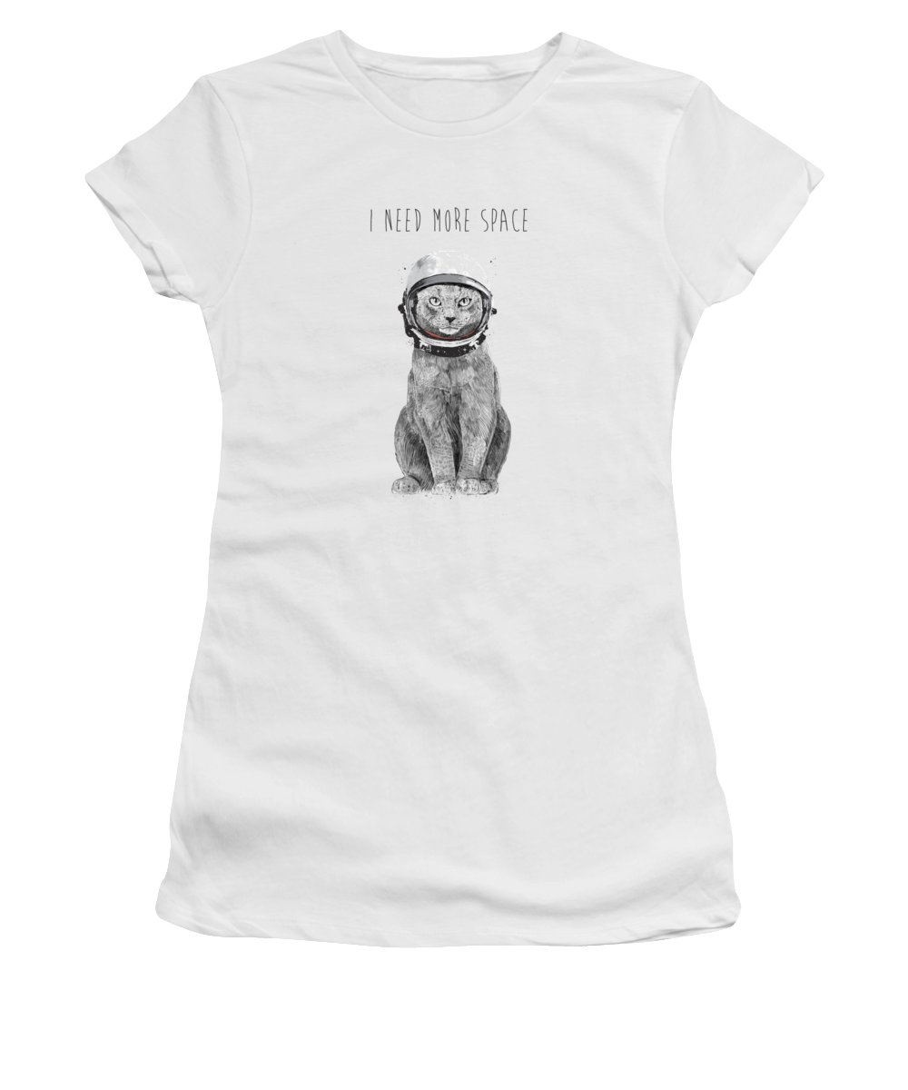 Cat Women's T-Shirt featuring the drawing I need more space by Balazs Solti