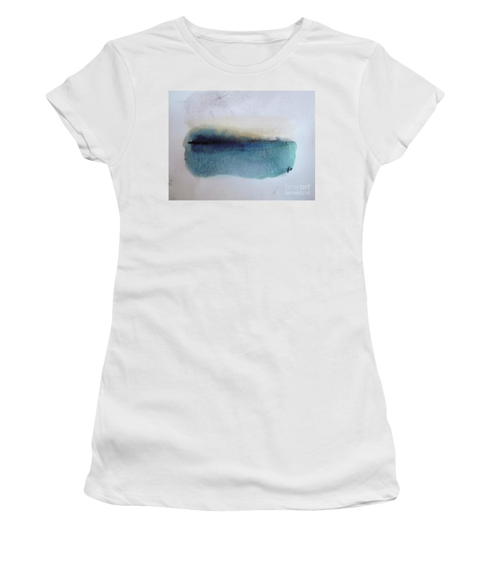 Abstract Women's T-Shirt (Athletic Fit) featuring the painting Indigo Blue by Vesna Antic