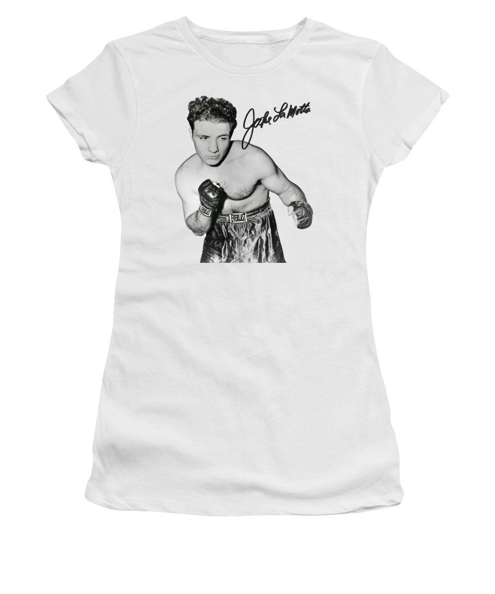 Boxing Women's T-Shirt featuring the photograph Jake Lamotta - Bronx Bull Boxing Chamption 1949 - T-shirt by Daniel Hagerman