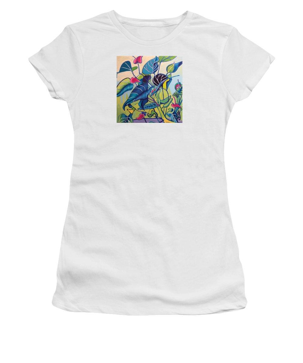Jungle Women's T-Shirt featuring the painting Jens Jungle by Debra Bretton Robinson