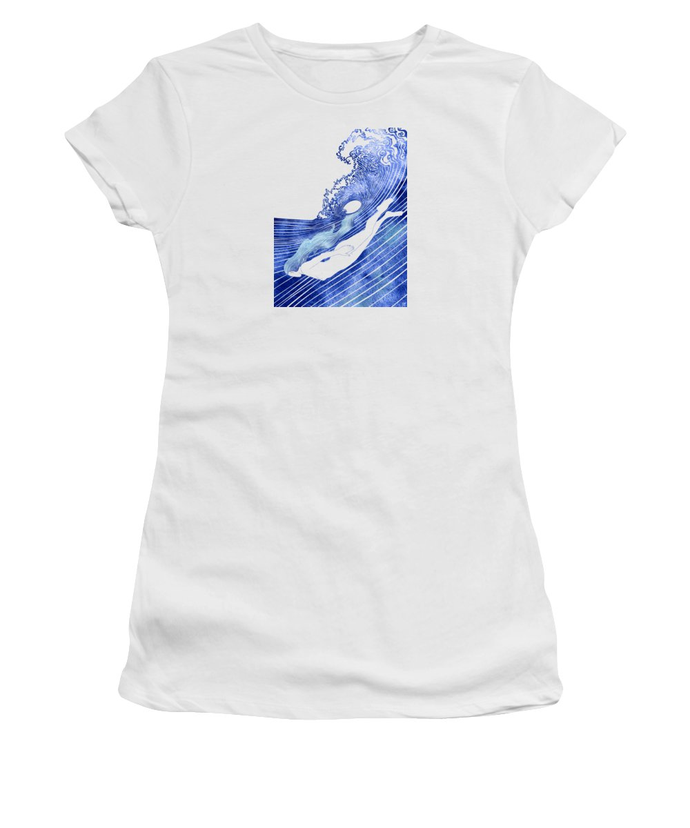 Aqua Women's T-Shirt featuring the mixed media Kymothoe by Stevyn Llewellyn