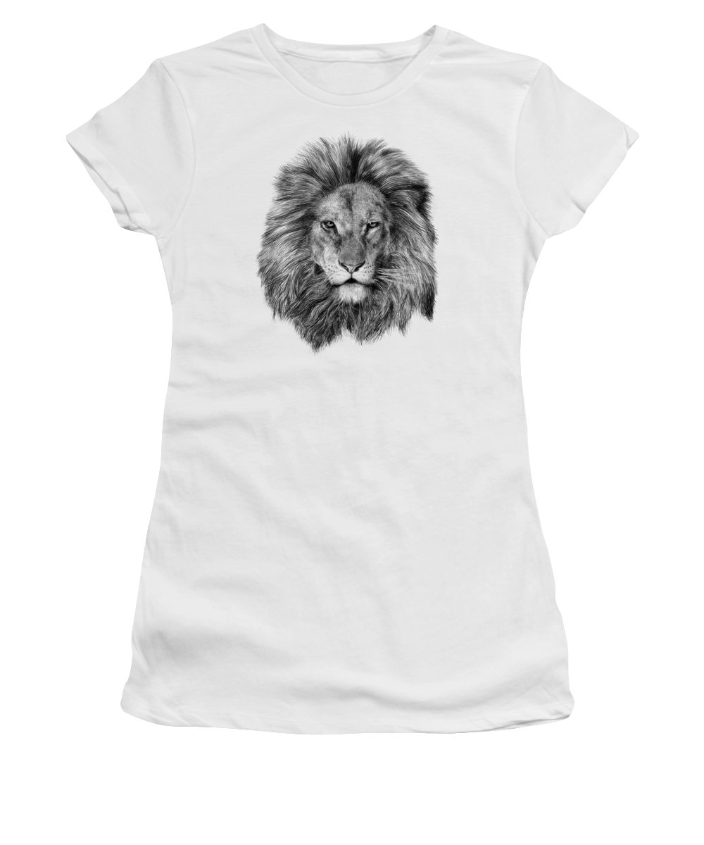 Lion Women's T-Shirt featuring the drawing Leo by Eric Fan
