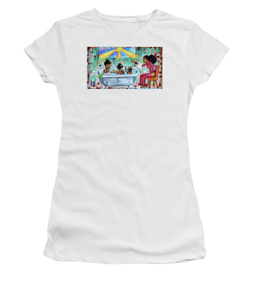 Mother Women's T-Shirt featuring the painting Lessons From Mommy by Artist RiA