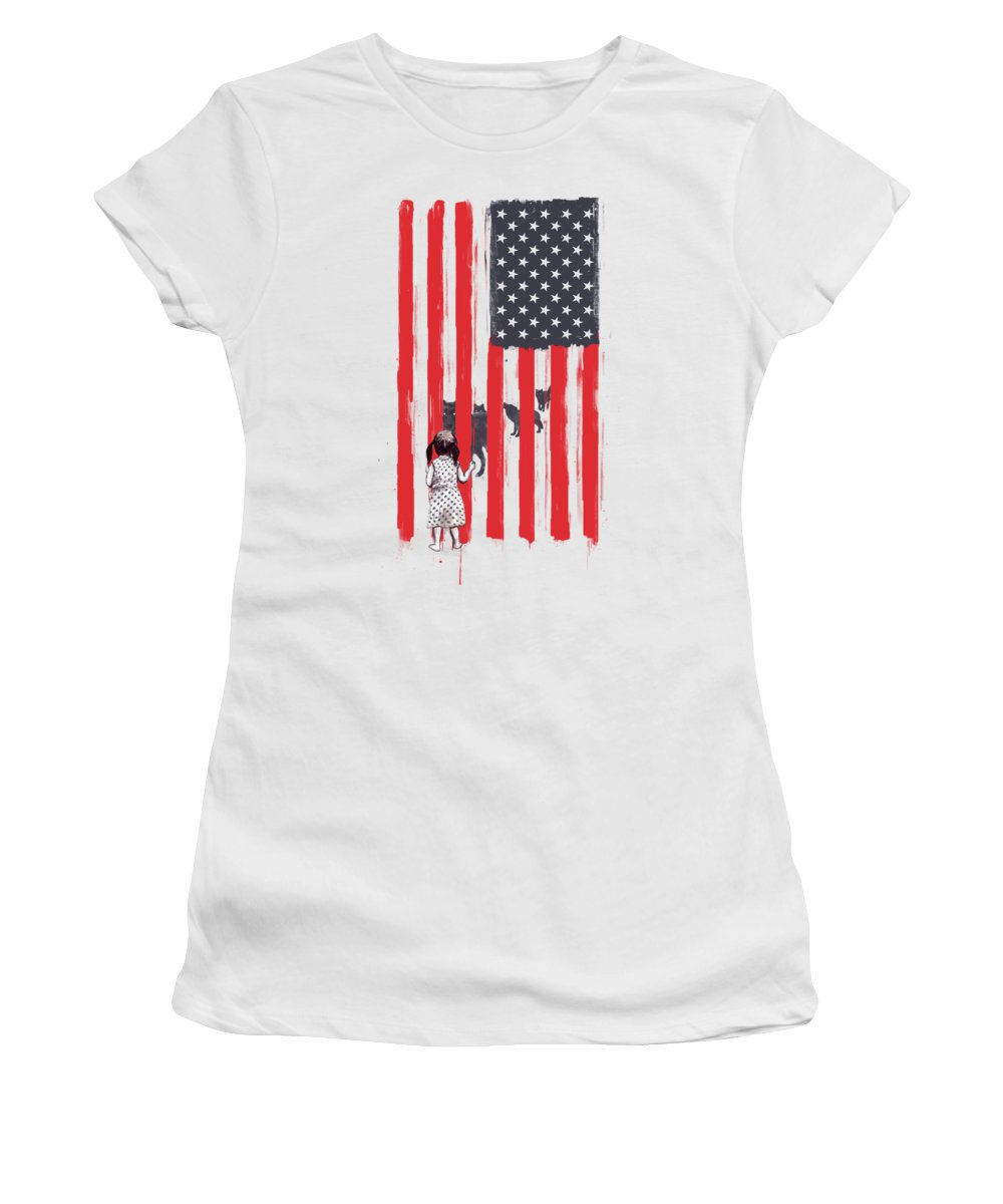 Usa Women's T-Shirt featuring the painting Little girl and wolves by Balazs Solti