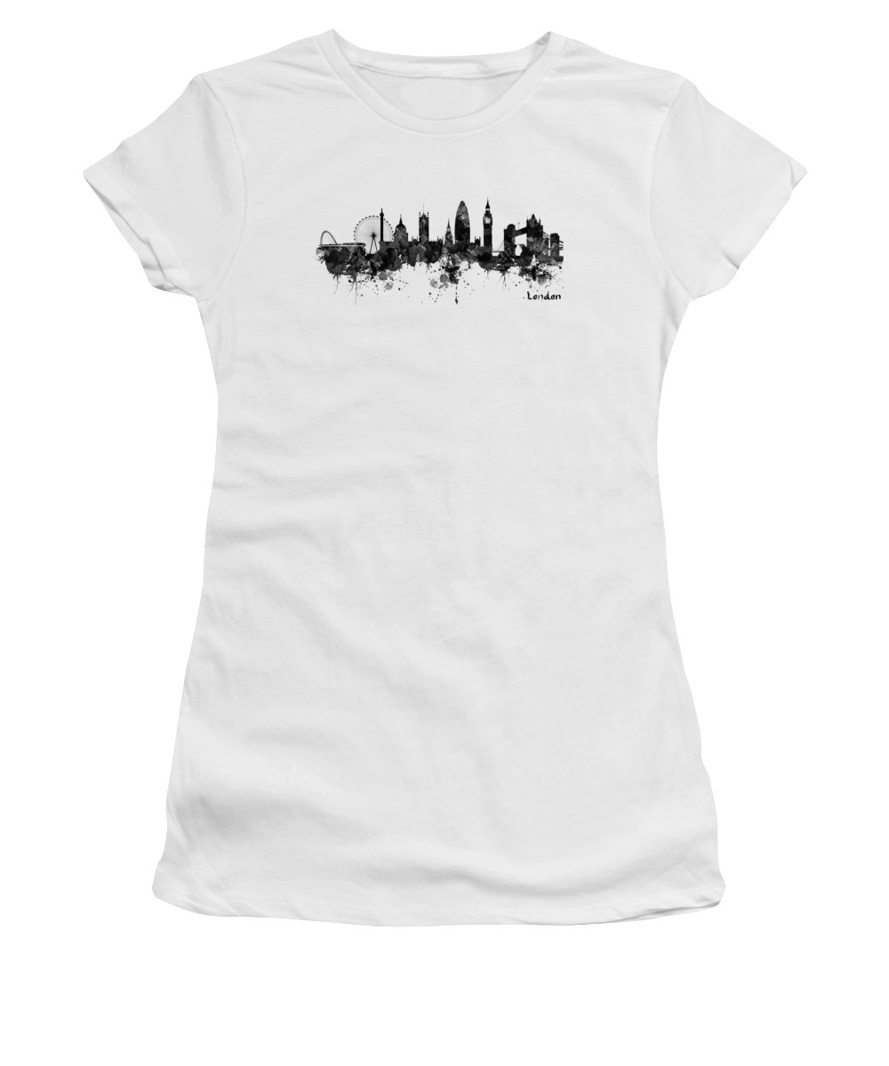 London Women's T-Shirt featuring the painting London Black And White Watercolor Skyline Silhouette by Marian Voicu