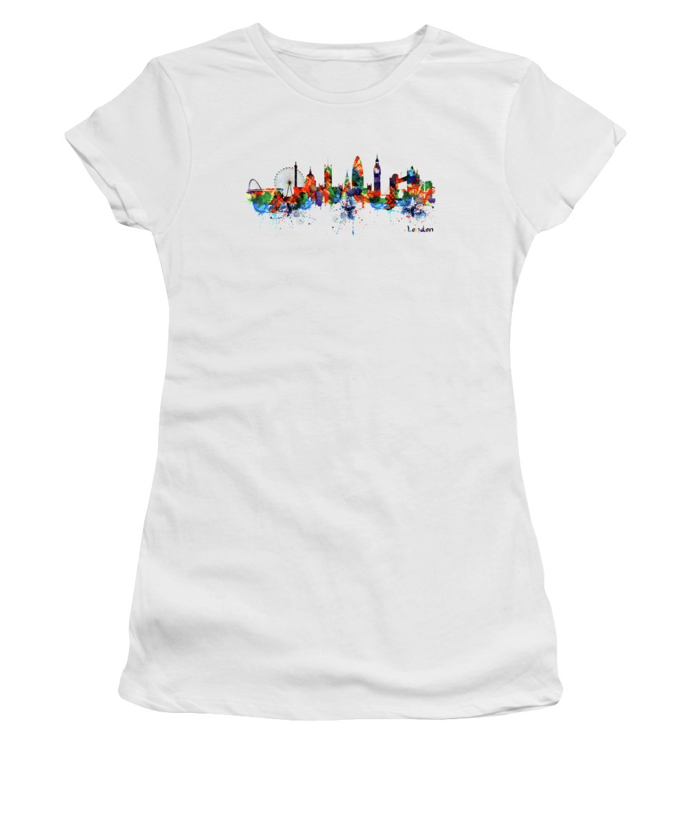 London Women's T-Shirt featuring the painting London Watercolor Skyline Silhouette by Marian Voicu
