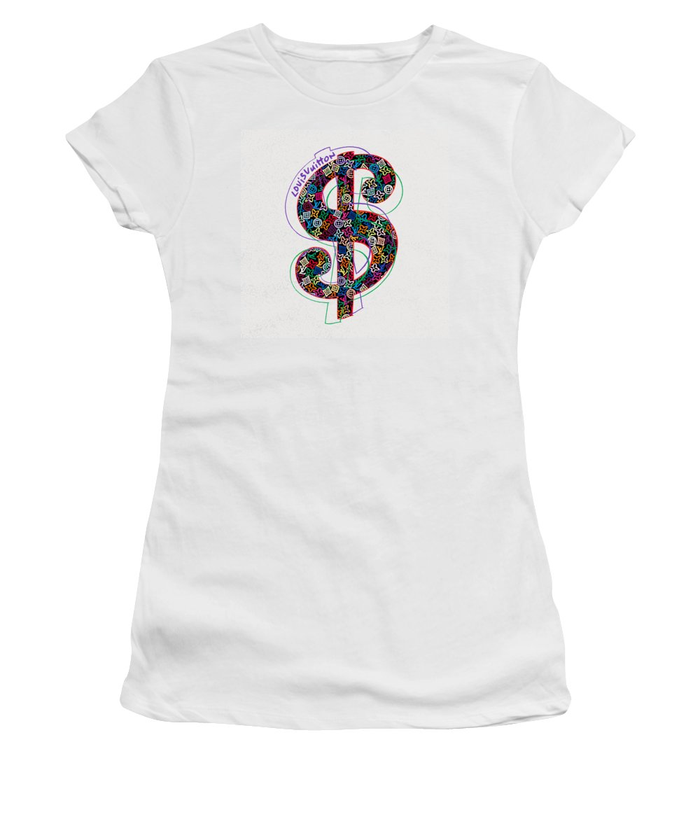 Lv Women's T-Shirt featuring the painting Louis Vuitton Dollar Sign-1 by Nikita